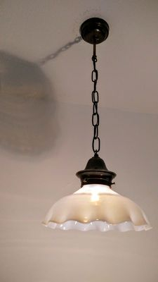 Antique kitchen lamp with large shade of opal glass