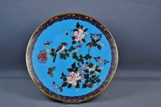 Cloisonné dish with bird - Japan - 19th century (Meiji period).