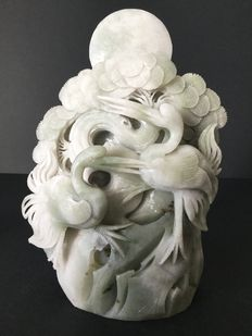 Jade sculpture depicting a couple of cranes - China - 21st century