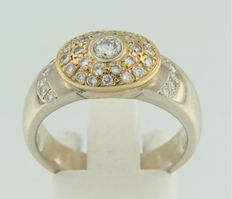 18k bi-colour gold ring set with brilliant cut diamonds, approx. 0.60 carat in total TW/W VS/SI ****no reserve price****