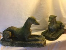A bunch of stone garden ornaments - Whippets - England - ca. 1950