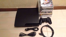 Sony Playstation 3 Slim 160GB - with controller, cable and 12 games