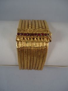 Women's 18 kt/750 gold plated bracelet with crystals