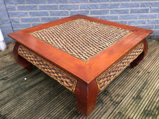 Wooden Opium table with wicker top