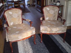 Two armchairs in Louis XV style