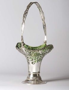 Silver flower basket with original green glass insert, Mappin & Webb, London, 1916