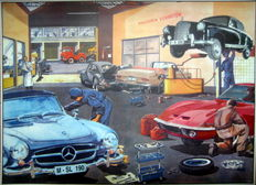 Nostalgic print - Workshop in the 1960s - With the Opel GT/Mercedes-Benz/Volkswagen Beetle
