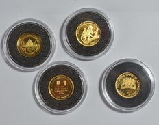 World, lot with various coins, 2001-2005 (four different ones), all four 1/25 oz gold