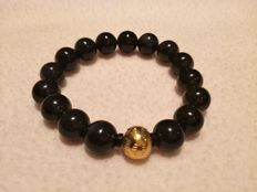 24K pure gold lotus flower bead - obsidian crystal bracelet