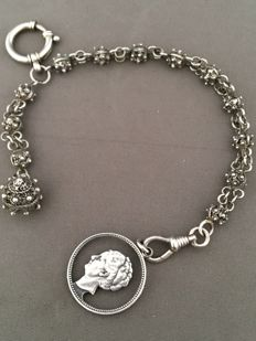 Silver fob/pocket watch chain