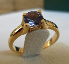 0.82 ct Natural Blue Violet Round Shape Tanzanite in New Designed Ring of 14K Solid Yellow Gold