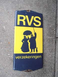 Enamel door sign for RVS Insurance 1950