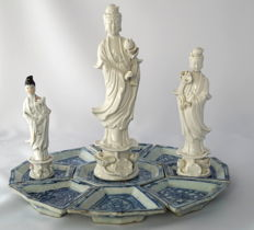 Sweetmeat set and 3 Blanc de Chine sculptures – China – 19th and 20th century