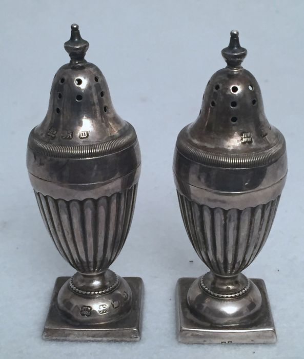 Silver pepper- and salt set, John Thomas Heath and John Hartsghorne Middleton, Birmingham, 1896