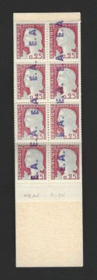 "Algeria – Booklet of 8 Marianne de Decaris stamps with ""EA"" overprint in ORAN purple, booklet no. 1263-C1, serial number S 02-62"