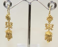 Rare 19.2k Solid Gold Antique Portuguese Earrings Hand Made