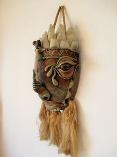 South America Hand made Mask, with fish scales?? Ox-eye seeds, bone, a semi precious stone and paste.