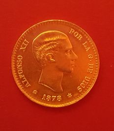 Spain - Alfonso XII - 10 gold pesetas - Remint - 1961 - Madrid