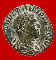 Roman Empire - Philip I (244-249 A.D.), bronze sestertius (15,60 g 29 mm.) minted in Rome, LIBERALITAS. AVGG. II. S.C.