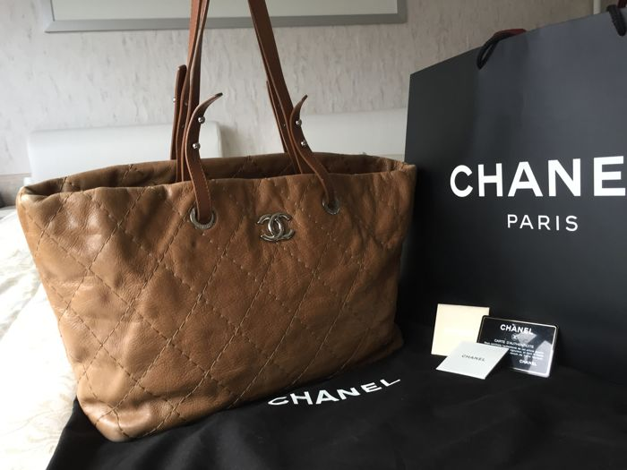 Chanel - Brown Quilted Glazed Leather On-the-Road Tote Bag ...