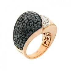 "Chimento - ""Desiderio"" ring, rose gold with black/white diamonds - Ring size 55 (Italian size 15)"