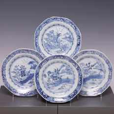 Nice set of 4 blue/white porcelain plates with a fisherman in a river landscape - China - 18th Century