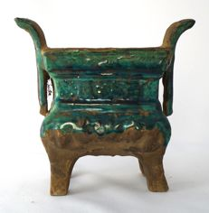 Incense burner decorated with Chinese characters in relief – China – 19th century