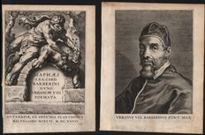 Cornelis Galle (1576-1650) after Peter Paul Rubens (1577 - 1640) -  Two engravings related to pope Urbanus VIII Barberinus Pontifex max  - 1634