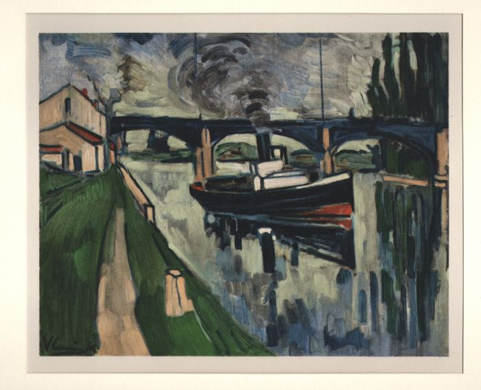 Maurice Vlaminck (1876-1958) - La seine à Poissy - limited edition at Mourlot, Sauret Paris 1958