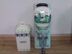 Porcelain coffee grinder - windmill and farm decoration