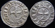 Crusaders, Achaia, Frankish Greece - Denier Tournois (lot of 2 coins) - Silver