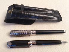 """S.T. Dupont- Elysée Fountain and Ballpoint Pen Set- Black Lacquer/ Silver- """"Mignon"""" Leather Case RARE Since in New Condition Never Used"""