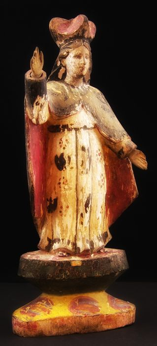 """Crowned Madonna"", antique polychrome wood sculpture - Lombardy school - Italy, 18th or 19th century"