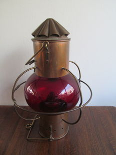 Large antique red copper ship lamp, red glass