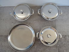 Vintage Alessi bowls with lids and flat round bowls -stainless steel