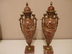 Two of Sienna marble cassolettes with bronze mounts in Louis XVI style, early 20th century