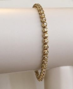 14 kt yellow gold tennis bracelet set with 50 brilliant cut diamonds – 1.50 ct in total, H/VS/SI