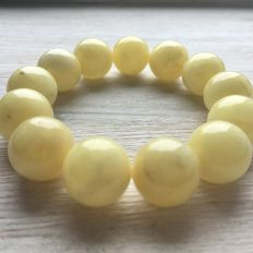 Baltic amber bracelet, butter color, 29.3 g,