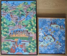 2 Tempura on board - Balinese Young Artists style - Signed - Bali - Indonesia