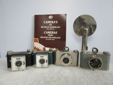 "Lot of 4 Dutch cameras: 2 x Thabes, incl. 1 x  flash and 1 x bag; 2 x Venaret, incl. 1 x bag -  1948/1950 - Catalogue exhibition 1991 ""Camera's uit België en Nederland""/""Cameras from Belgium and the Netherlands 19th and 20th century"""