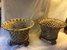 A pair of open worked cast iron garden vases - France - mid 20th century