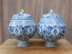 Pair of porcelain covered jars - China - second half of 20th century