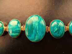 925 silver & natural malachite vintage solid ladies' bracelet 1960