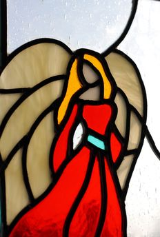 Stained glass panel with angel image - recent, perfect condition