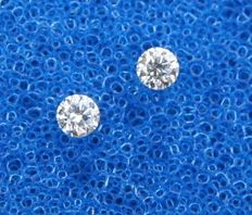 Lot of 2 brilliant-cut diamonds of 2.70 mm, total weight: 0.16 ct, E/VVS