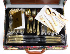 Solingen Germany 70-piece luxury cutlery set for 12 persons-23/24 carat gold plated