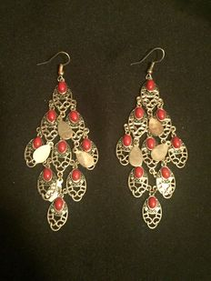 Sterling Silver & Red Coral Chandelier Earrings