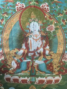 Representation of White Tara on fabric and silk - Nepal - early 20th century