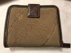 Prada – Book-style wallet – In monogrammed fabric with dark brown leather inserts