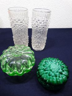 Curt Schlevogt malachite soap box. --Frandicek. Peceny for Hermanova Hut 2 candle wax vases and Anna green bowl with lid